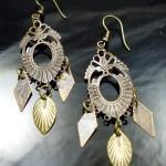 Metal Dangle Bronze Gypsy Earrings