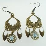 Metal Dangle Bronze Gypsy Earrings Blue