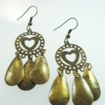 Metal Dangle Funky Bronze Gypsy Jewelry Earrings Pair