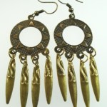 Metal Dangle Bronze Gypsy Earrings Large Round