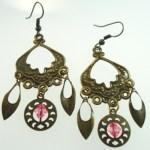 Metal Dangle Bronze Gypsy Earrings Pink Beads