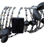 Black Obsidian & Snow Obsidian Gem Stone Large long Necklace 75″ New