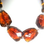 Golden Amber Topaz Faceted Glass Gold Wire Work Necklace
