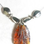 Wire Work Necklace with Faceted Amber Glass Bead New Fashion Design