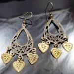 Metal Dangle Bronze Gypsy Earrings Heart Leaves