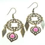 Metal Dangle Bronze Gypsy Earrings Pink Hearts