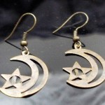 Metal Dangle Bronze Gypsy Earrings Moon Star
