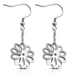 Stainless Steel Flower Snowflake Hook Earrings