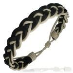 Mens Womens Handmade Leather Brown Cream Bracelet