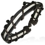 Mens Womens Handmade Leather Black White Stripe Bracelet
