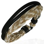 Mens Womens Handmade Braided Leather Black Bracelet