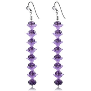 Purple Crystal Long Earrings