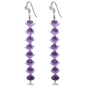 Purple Crystal Long Earrings