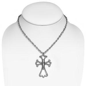 Crucifix Cross Bullet Czech Crystal Pendant & Chain Necklace
