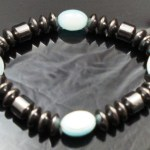 Hematite Gem Glass Beaded Stretch Bracelet Bangle Blue
