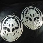 Large Round Modern Metal Silver Flower Earring Pair NEW