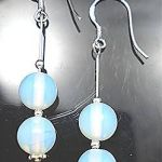 STERLING SILVER 925 OPALITE BEADED GEM EARRINGS NEW
