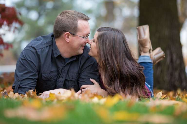 Fall engagement photos in downtown Spokane
