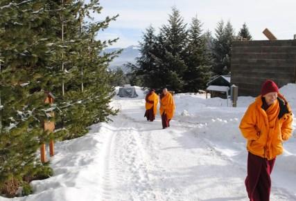Sisters at Sravasti Abbey walk to the chapel.