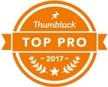 A clickable Thumbtack logo that leads to Spokane's Finest Lawns' reviews on Thumbtack