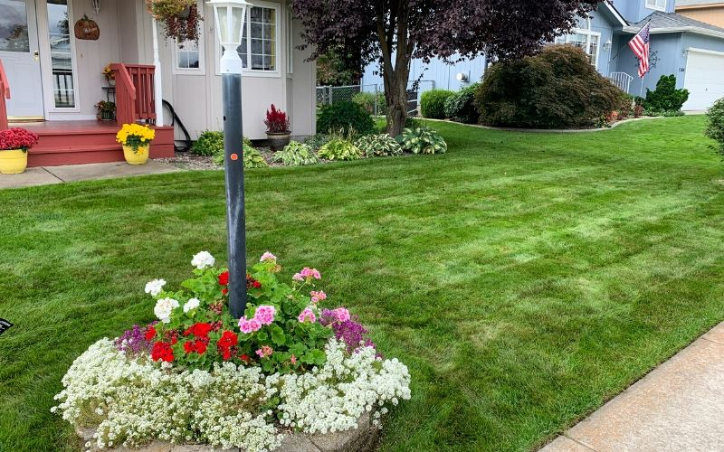 A large front yard that has been recently mowed and has several landscape beds filled with seasonal Spring flowers.
