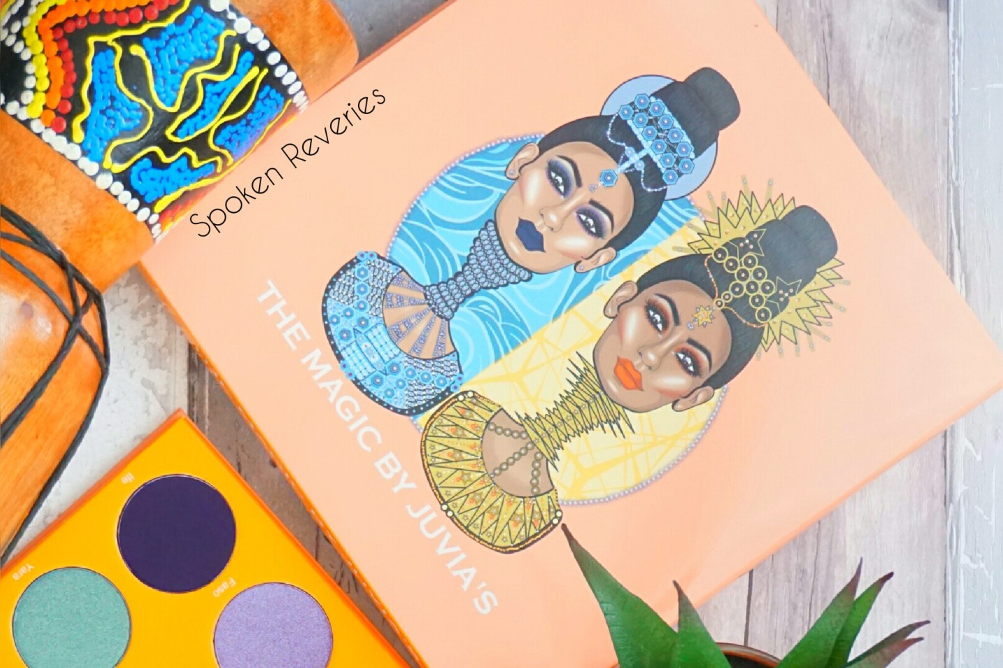 Close up of the packaging of the magic palette showing two African queens