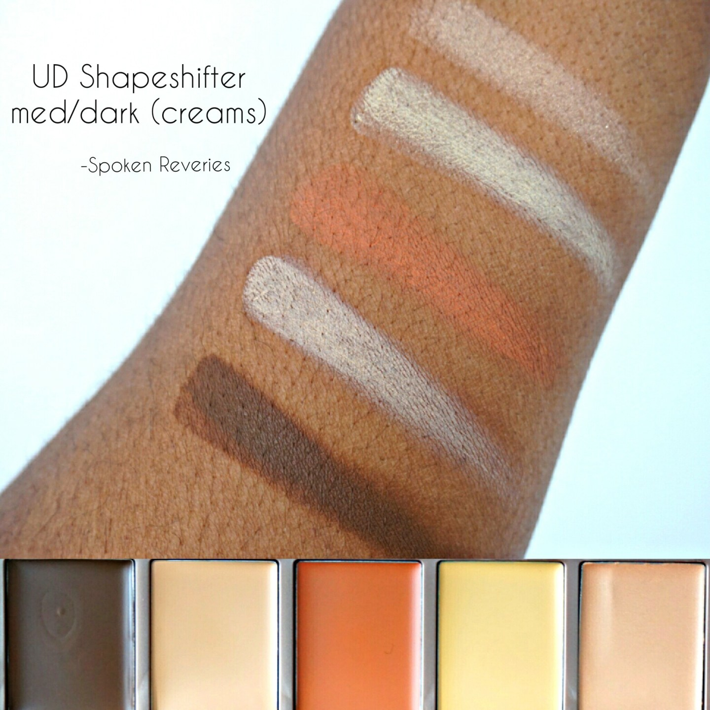 Urban Decay Shapeshifter cream swatches