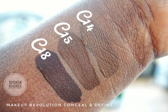 Makeup Revolution Concealer swatches