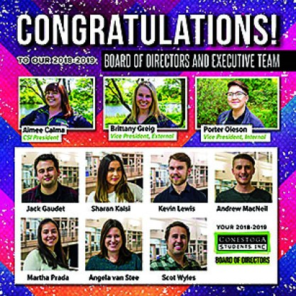 These are the recently elected members of the 2018-2019 Conestoga Students Inc. board of directors, along with CSI's executive team.