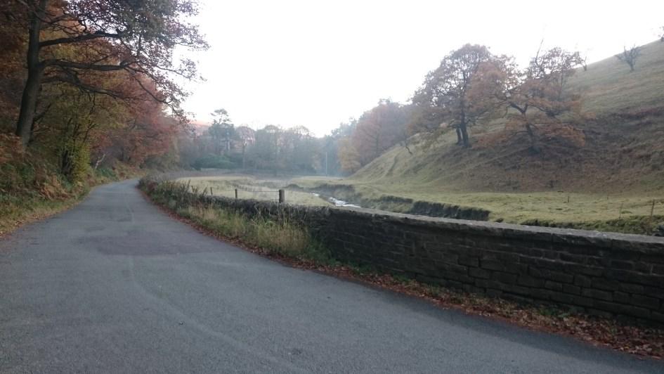 The road alongside Clough Brook