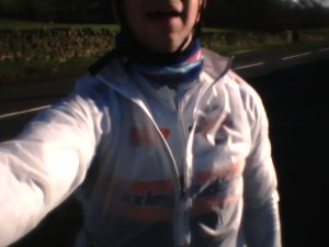 Wearing the jacket on a windy February ride
