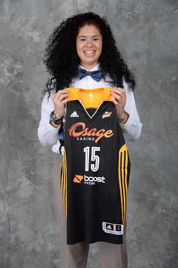 UNCASVILLE, CT - APRIL 16: The number two overall pick Amanda Zahui B of the Tulsa Shock poses for a portrait during the 2015 WNBA Draft Presented By State Farm on April 16, 2015 at Mohegan Sun Arena in Uncasville, Connecticut.
