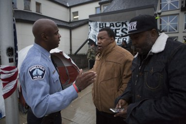 Protesters of Black Lives Matter Minneapolis rallied at the 4th precinct to protest the police shooting of Jamar Clark