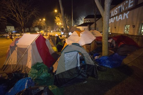 Tents outside of the Fourth Precinct, November 20