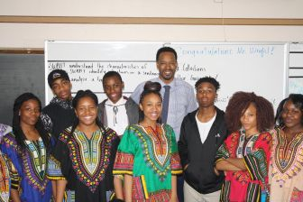 Abdul Wright with students in his class at Best Academy