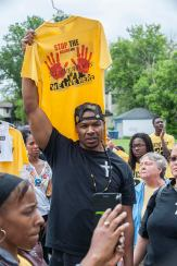 Attendees wore or held up shirts with names of loved ones lost to violence