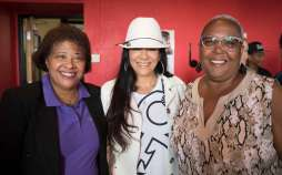(l-r): Sabathani Community Center Executive Director Cindy Booker, musician Sheila E., and MSR Publisher/CEO Tracey Williams-Dillard
