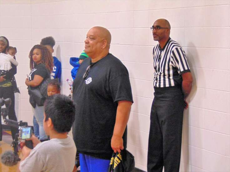 Hunter (front), McNeal in referee uniform