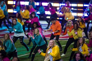 Local high school dance teams performed during Justin Timberlake's half-time show
