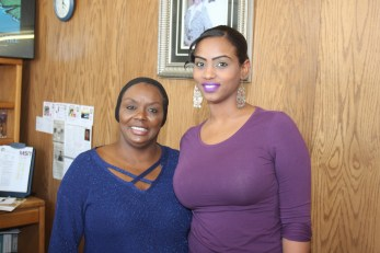 (l-r) Sales rep. Cecelia Viel and Dalia Taha, MSR adminstrative assistant and Sister Spokesman event coordinator