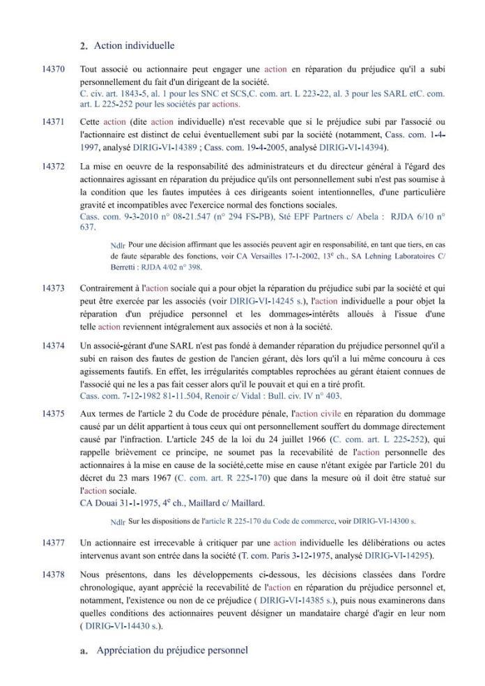 action individuelle en responsabilité des dirigeants Editions Francis Lefebvre Page1 - Définition de l'action individuelle de RANARISON Tsilavo pour bénéficier des intérêts civils d'après les Editions Francis Lefebvre
