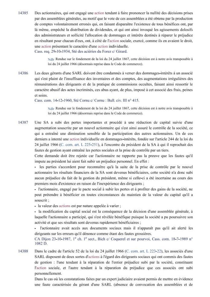 action individuelle en responsabilité des dirigeants Editions Francis Lefebvre Page2 - Définition de l'action individuelle de RANARISON Tsilavo pour bénéficier des intérêts civils d'après les Editions Francis Lefebvre