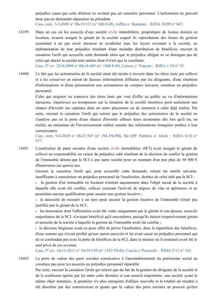 action individuelle en responsabilité des dirigeants Editions Francis Lefebvre Page5 - Définition de l'action individuelle de RANARISON Tsilavo pour bénéficier des intérêts civils d'après les Editions Francis Lefebvre