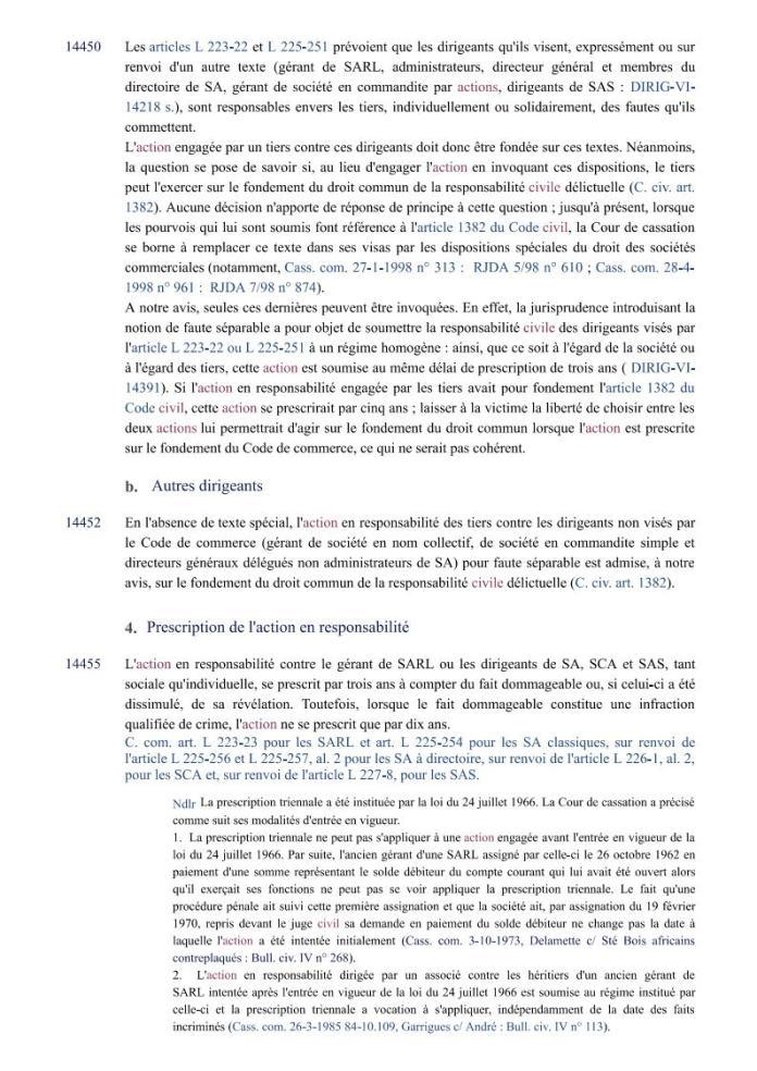 action individuelle en responsabilité des dirigeants Editions Francis Lefebvre Page8 - Définition de l'action individuelle de RANARISON Tsilavo pour bénéficier des intérêts civils d'après les Editions Francis Lefebvre