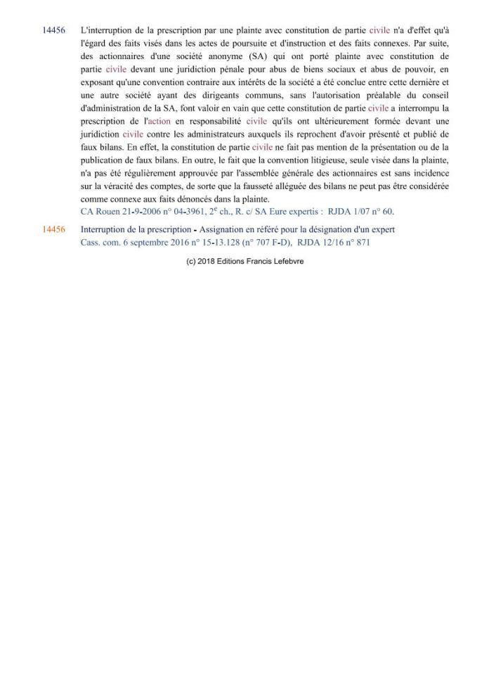 action individuelle en responsabilité des dirigeants Editions Francis Lefebvre Page9 - Définition de l'action individuelle de RANARISON Tsilavo pour bénéficier des intérêts civils d'après les Editions Francis Lefebvre