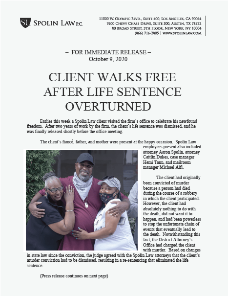 Press Release page titled Client Walks Free After Life Sentence Overturned