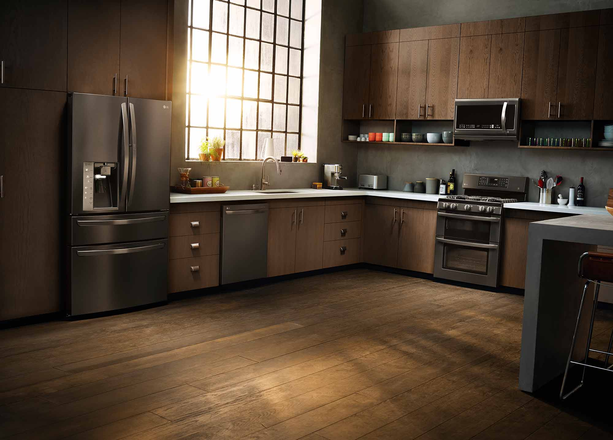 black kitchen appliances cabinet glass doors in the is new sponsored are a great alternative to stainless steel especially dark colored kitchens where you can achieve custom built look without
