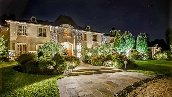 elegant landscaping stone and lighting