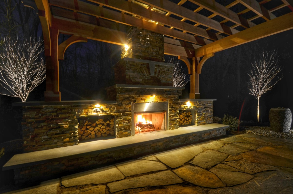 Patio Design with Pergola and Fireplace
