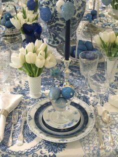 blue table tulips